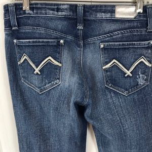 Vigoss Womens Blue Stretch Jeans Embroidered